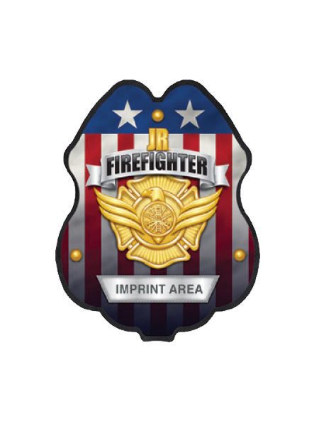 Jr. Fire Fighter US Flag Plastic Fire Badge